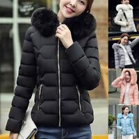 Winter Women's Down Cotton Parka Short Fur Collar Hooded Coat Quilted Jacket CLO