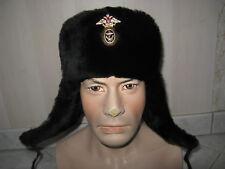CHAPKA uchanka OFFICIER Marine Naval RUSSE homme femme MOUTON CUIR Fourrure T.60