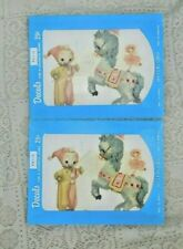 VINTAGE 1950's MEYERCORD DECALS SET OF TWO BABY CLOWN AND STUFFED HORSE X422-B
