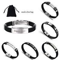 DIY Personalised Stainless Steel Custom Bracelet Leather Bangles Jewelry Gift