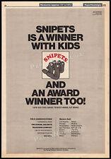 SNIPETS is a Winner__Original 1978 Trade print AD / TV short series promo poster