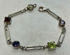 """Sterling Silver Multi-Colored Stones Uniquely Linked Bracelet ~ 7.75"""" ~ 11-A1667"""