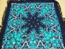 Original Russian Pavlovo Posad 100% Wool Shawl Scarf Fringe/New/THE LARGEST!