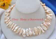 New Rare Natural 8-16mm Irregular Pink Biwa Pearl Necklace 18'' AAA