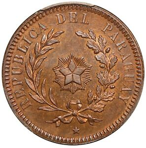 1870 Paraguay 2 Centesimos Copper Coin - PCGS MS 65 RB - KM# 3 - TOP POP