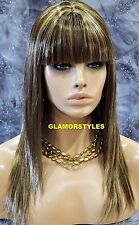 Long Layered With Bangs Brown Blonde Mix Full Synthetic Wig Hair Piece #F8.24B