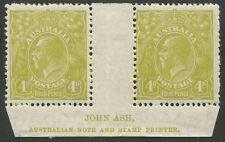 KGV Heads - Small Multiple Watermark Perf 13½ x 12½: 1924-38 (SG.102) 4d Olive