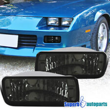 For 1985-1992 Camaro Smoke Front Bumper Lights Turn Signal Lamps Left+Right