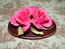 Napoleon Italy Red Rose Flower Figurine Red Roses Green Leaves Wood Base
