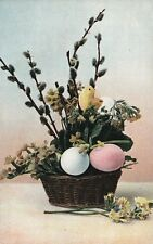Basket Pink Blue Eggs Pussy Willow Easter Chick Postcard