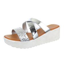 Markenlose Damen-Sandalen & -Badeschuhe mit Keilabsatz/Wedge im Pantoletten-Stil