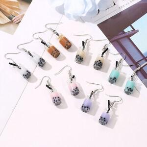 KE_ Fashion Lady Bubble Tea Drink Dangle Long Ear Hooks Earrings Jewelry Decor