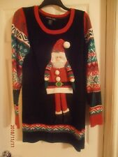 Ugly Christmas Sweater with Santa and Bells Cute but Ugly Size XL