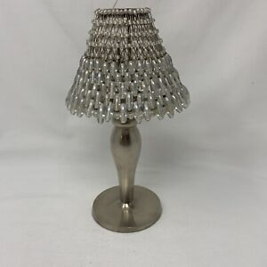 Pottery Barn -  Brushed Nickel Clear/White Beaded Shade Tealight Candle Holder