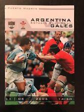 0033-Argentina V Gales Rugby programas del 11th 11/06/2006 de junio 2006 Los Pumas