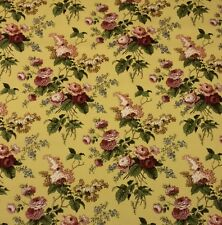 "WAVERLY EMMA'S GARDEN TEA STAIN #D4008 WHEAT FLORAL VINTAGE FABRIC BY YARD 54""W"