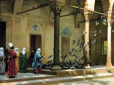 Jean Leon Gerome - Harem Women Feeding Pigeons - 24'  CANVAS