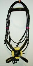 New Deluxe Mexican Grackle, Figure of 8 Noseband Bridle free Reins- Black (PONY)