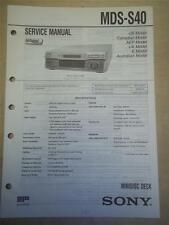 Sony Service Manual~MDS-S40 MiniDisc Deck~Original~Repair