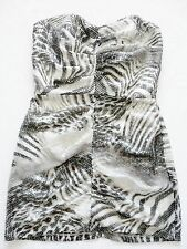 new LIPSY greys black STRAPLESS ANIMAL PRINT bodycon SEQUIN MINI  Dress size 12