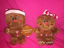"""Dandee GINGERBREAD Man 7.5"""" & Woman 7"""" Scented Plush Christmas embroidered eyes"""