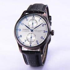 43mm Parnis Power Reserve Automatic Movement PVD Case Blue No. Men's Wristwatch