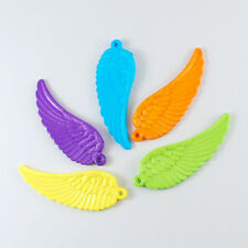 10 Angel Wing Pendants Charms Acrylic Assorted Lot 50mm Rainbow Colors