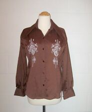 VTG 60s 70s RETRO Brown Western Rockibilly Hippie Disco Mod Button Down Shirt S