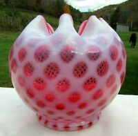 "Fenton 50's Cranberry Opalescent Honeycomb/Baby Dot Large Rose Bowl 5""H"