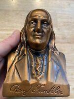 Benjamin Franklin Piggy Bank Banthrico Vintage Savings Bank Bement Illinois NR