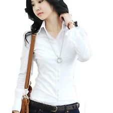 Womens Formal Shirt Buttoned Office Ladies Blouse Long Sleeve Top Size VANCY