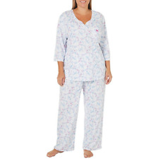 NEW KAREN NEUBURGER FLORAL 3/4 SLV 2 PC LONG PANTS SLEEP PAJAMA SET $66 1X 1XL