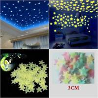 100 Pcs 3D Stars Glow In The Dark Luminous Fluorescent Wall Stickers Room Decors