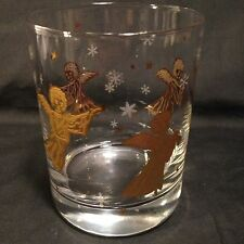 Culver Lowball Glass Angel Christmas Holiday Gold