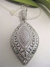 New Judith Ripka Sterling Silver Pave Diamonique Marquise Shape Enhancer Pendant