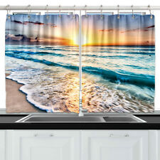 Golden Sunshine Beach Wave Kitchen Curtains Window Drapes 2 Panels Set 55*39""