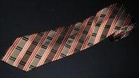 Pronto Uomo Tie Extra Long XL Plaids Stripe Brown Bronze Woven Sil Necktie NEW