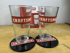 Craftsman Pint Glass Gift Set | 2 Glasses 2 Tin Coasters | New | Mechanic Wood W