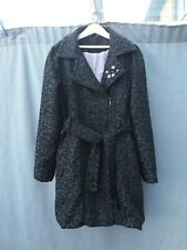 Debenhams Girls Grey Black Leopard Animal Print Wool Blend Fitted Coat 12 Yrs