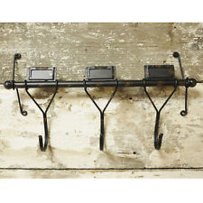 Retro Industrial Hat Coat Hanging Storage Rack Hanging Wall 3 Hooks Label Holder