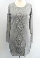 Micro Mini Dress /  Long Lace Sleeve Party Top Grey S / M box73 72 B