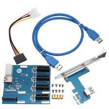 PCI-E 1X USB 3.0 Expansion 1 to 4 Port Switch Multiplier Hub Riser Card 1000Mbps