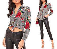 New Floral Dogtooth Check Button Shirt Womens Collar Blouse Smart Work Top Cheap