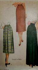 Vtg FF 30s 40s WWII Era Day & Formal Length Skirt Simplicity 3341 Waist 26 Uncut