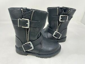 Cherokee Toddler Girl's Julie Zip Up Fashion Boots W/Buckle Black #0930170 72W r