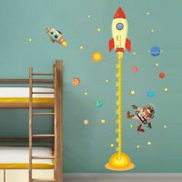 Outer Space Planet Monkey Rocket Wall Sticker Kids Room Height Measure Decor DIY