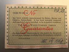 Rolex garanzia del 1965 in bianco con data 1968 per 6263 6265 5512 5513 1675
