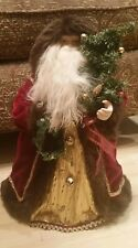 Old World Rustic Fur Lined Robe Santa Christmas Tree Topper Figurine 17�