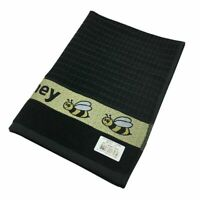 Pack of Two Honey Kitchen Hand Tea Towel in Black 100% Cotton 50cm x 65cm