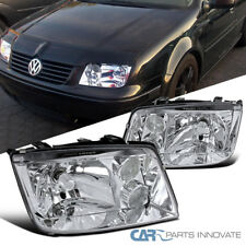 Fit 99-05 VW Jetta Bora Mk4 Chrome Clear Headlights w/ Built-In Fog Lamps Pair